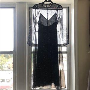 Slip midi/maxi dress w sheer Moon & Stars overlay